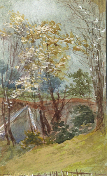 Autumn Trees Miniature - Original early 20th-century watercolour painting