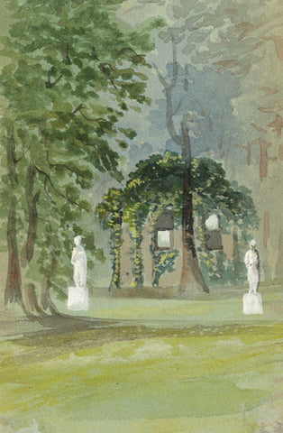 Garden Folly Miniature - Original early 20th-century watercolour painting