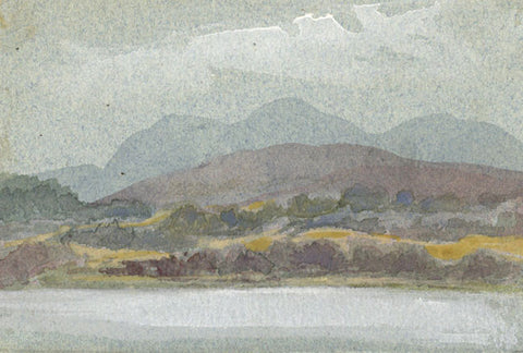 Moorland Lake Miniature - Original early 20th-century watercolour painting