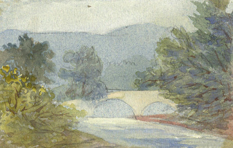 River with Bridge Miniature - Original early 20th-century watercolour painting
