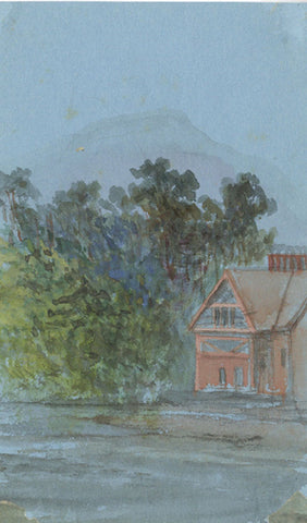 House by River Miniature - Original early 20th-century watercolour painting