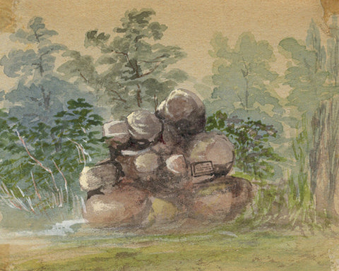 Boulders Miniature - Original early 20th-century watercolour painting