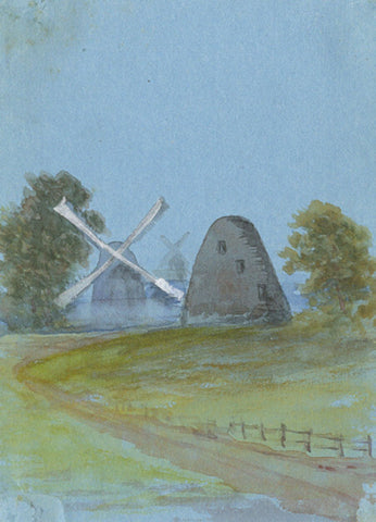 Windmill View Miniature - Original early 20th-century watercolour painting