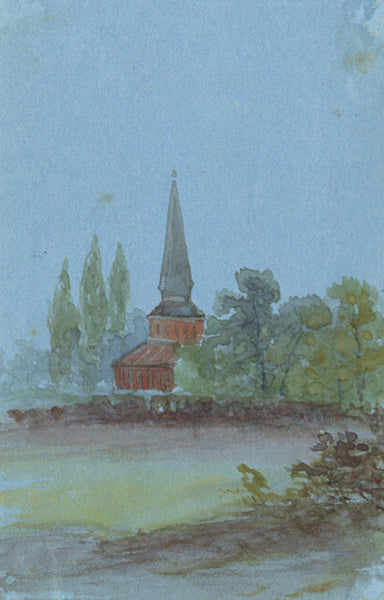 Church View Miniature - Original early 20th-century watercolour painting