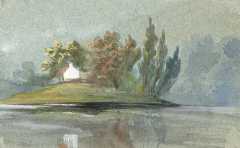 Lakeside House Miniature - Original early 20th-century watercolour painting