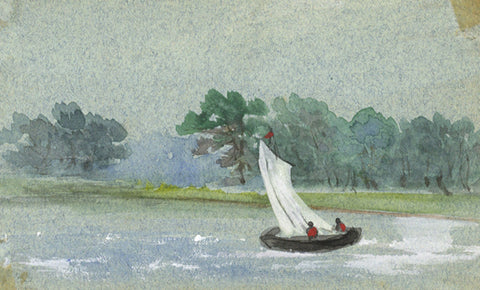 Dinghy Sailing on Lake Miniature - Original early 20th-century watercolour painting