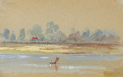 Sailing on the Estuary Miniature - Original early 20th-century watercolour painting
