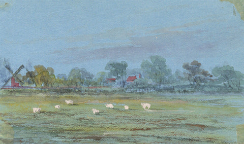 Sheep Grazing Miniature - Original early 20th-century watercolour painting