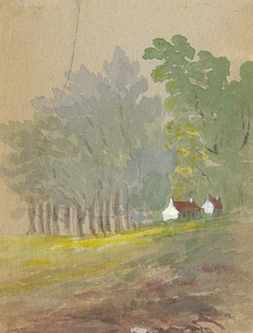 Cottages in Woods Miniature - Original early 20th-century watercolour painting