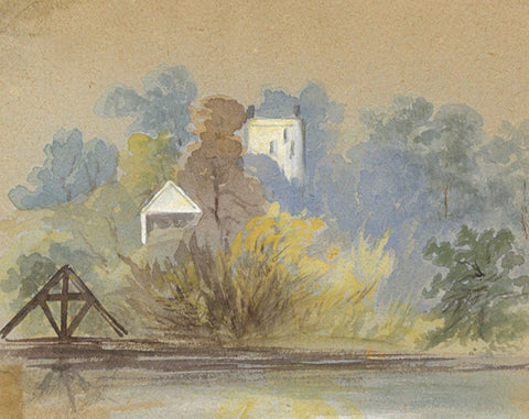 Landscape with Tower Miniature - Original early 20th-century watercolour painting