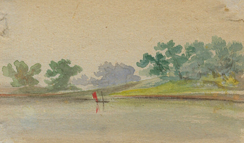 Sailing Boat on Lake Miniature - Original early 20th-century watercolour painting