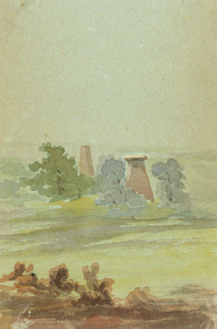 Silos in Landscape Miniature - Original early 20th-century watercolour painting