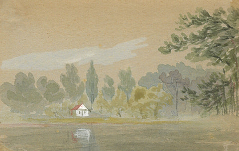 Cottage by Lake Miniature - Original early 20th-century watercolour painting