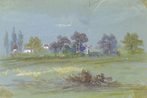 Country View with Windmill Miniature - Original early 20th-century watercolour painting