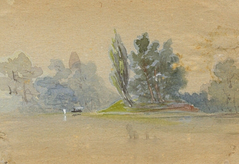 Lake Island Miniature - Original early 20th-century watercolour painting