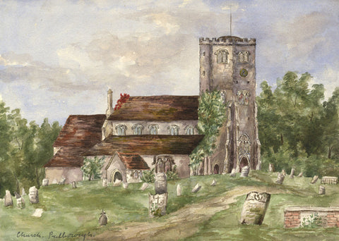 Pulborough Church, West Sussex - Original 1892 watercolour painting