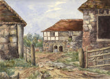 Old Place, Pulborough, West Sussex - Original 1892 watercolour painting
