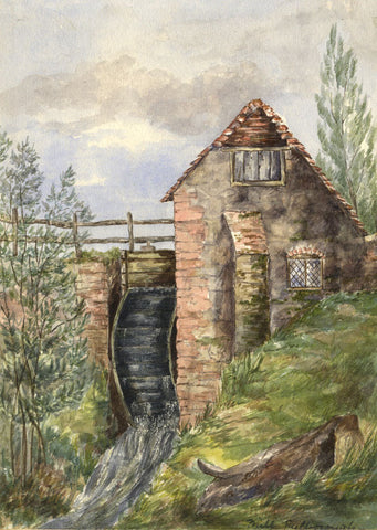 Watermill, Pulborough, West Sussex - Original 1892 watercolour painting