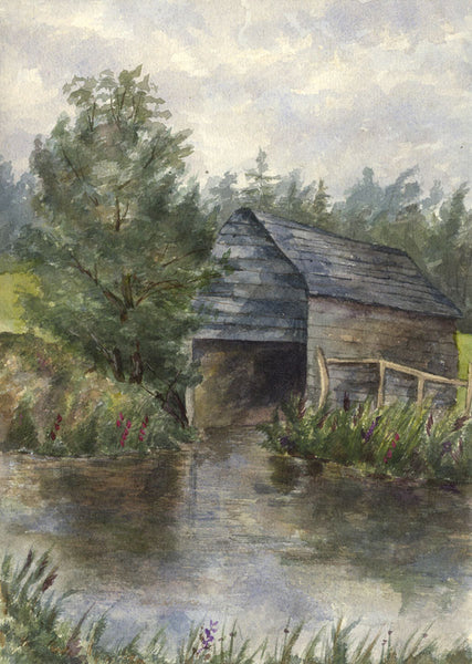 Boat House on the Arun, Pulborough, West Sussex - Original 1892 watercolour painting