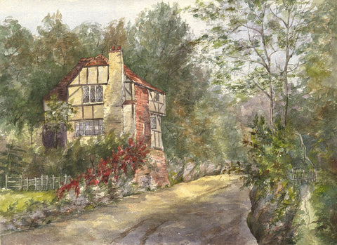 The Old House, Pulborough, West Sussex - Original 1892 watercolour painting