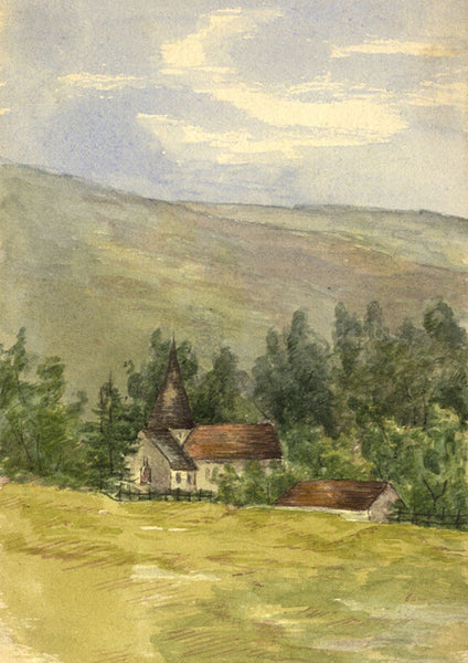 Church near Amberley, West Sussex - Original 1892 watercolour painting