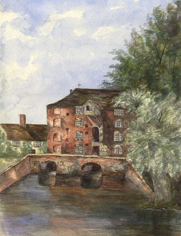 Sproughton Mill, Ipswich - Original 1892 watercolour painting
