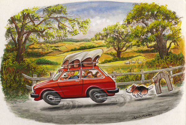 A.J. Williams Summer Holiday Cartoon -Original mid-20th-century gouache painting
