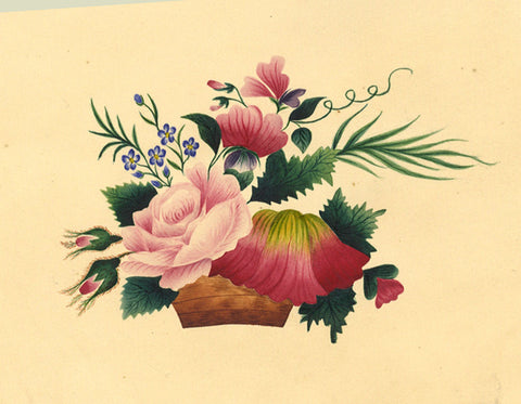 Fanny Atkinson, Basket of Floral Posy - Original 1845 watercolour painting