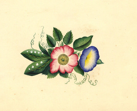Fanny Atkinson, Lily of the Valley & Dog Rose Posy - Original 1845 watercolour painting