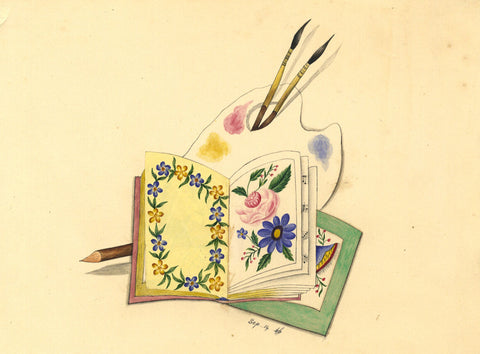 Fanny Atkinson, Still Life with Artist Palette - 1846 watercolour painting