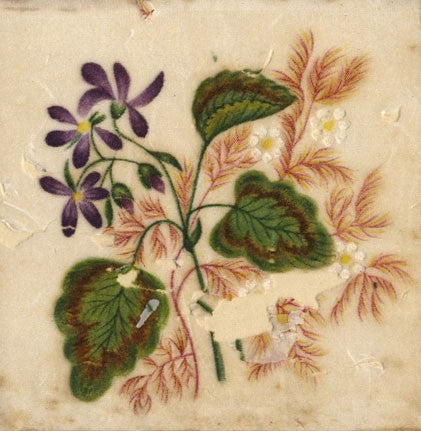 Antique 19th-century Painting on Chinese Pith, Purple Flowers