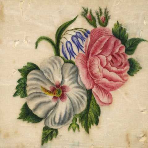 Antique 19th-century Painting on Chinese Pith, Roses Posy