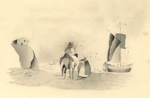Fanny Atkinson, Sea Merchant on Beach in Grisaille - 1845 watercolour painting