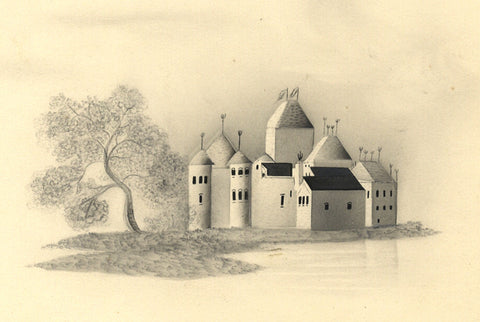 Fanny Atkinson, Castle with Turrets in Grisaille - 1845 watercolour painting