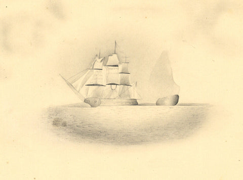 Fanny Atkinson, Tall Ship off Coast in Grisaille - 1845 watercolour painting