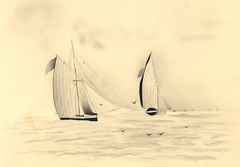 Fanny Atkinson, Sailing Boats at Sea in Grisaille - 1845 watercolour painting