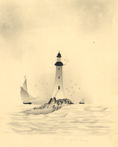 Fanny Atkinson, Eddystone Lighthouse, Devon -1845 grisaille watercolour painting