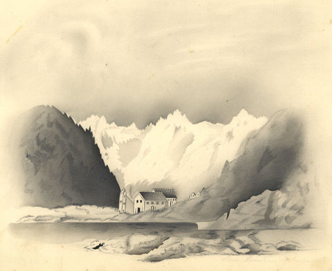Fanny Atkinson, St Bernard Pass Switzerland -1845 grisaille watercolour painting