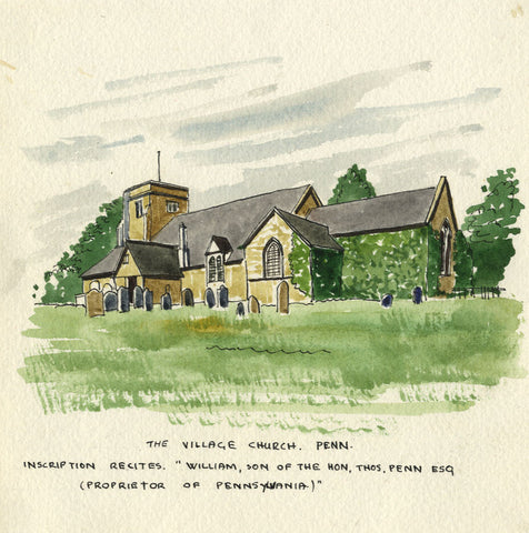 Church, Pennsylvania, USA - Original early 20th-century watercolour painting