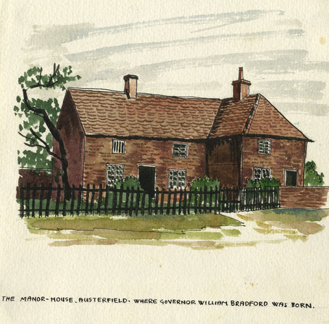 Manor House, Austerfield, Yorkshire - Original early 20th-century watercolour painting
