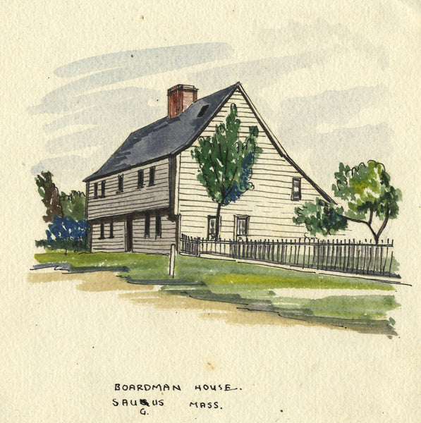 Boardman House, Saugus, Massachusetts, USA - Original early 20th-century watercolour painting