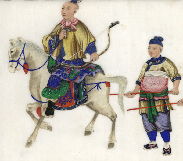 Antique 19th-century Chinese Pith Painting, Archer on Horseback
