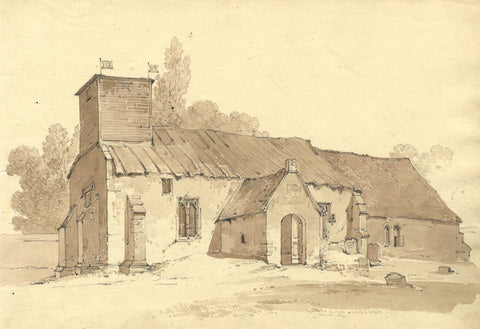 GH ONeale Country Church With Timber Tower 19th Century Watercolour Painting
