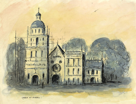 Louis Valentine, Evreux Cathedral, Normandy France -Mid-20th-century watercolour