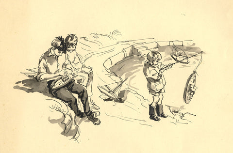 Louis Valentine, Boys Playing with Boats - Mid-20th-century pen & ink drawing