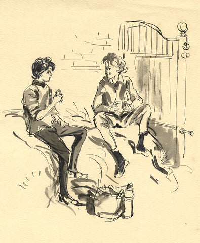 Louis Valentine, Girls Resting in Stables - Mid-20th-century pen & ink drawing