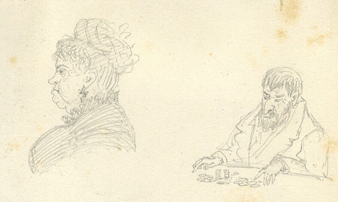 Attrib. Richard Doyle, Casino Portraits, Monte Carlo, Monaco - 1877 graphite drawing