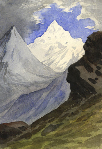 Attrib. Richard Doyle, Weisshorn Mountain, Switzerland - 1878 watercolour painting