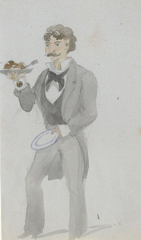 Attrib. Richard Doyle, Waiter, Zermatt, Switzerland - 1878 watercolour painting