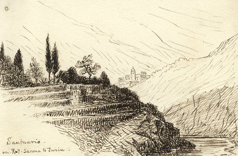 Attrib. Richard Doyle, Santuario View, Savona to Turin, Italy - 1878 pen & ink drawing